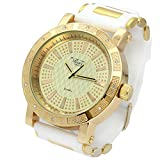 Totally Iced Out Pave Milano Gold Tone Gold Ice Dial Hip Hop Men's Bling Watches White Silicone Band