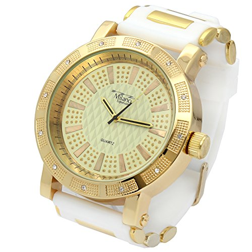 Milano Ice (Totally Iced Out Pave Milano Gold Tone Gold Ice Dial Hip Hop Men's Bling Watches White Silicone)