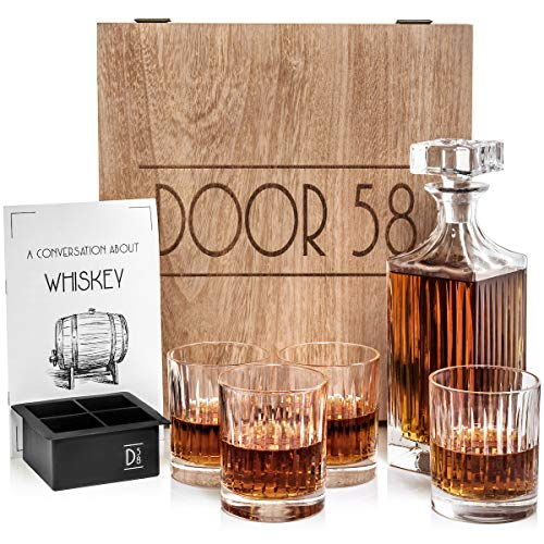 Door 58 Whiskey Decanter Set w/Glass Drink Tumblers (5-Pcs.) Bourbon, Scotch, Brandy, Rum, Liquor | Lead-Free Crystal | Guide to Whiskey Booklet, Handmade Wooden Box, Silicone Ice Cube Mold