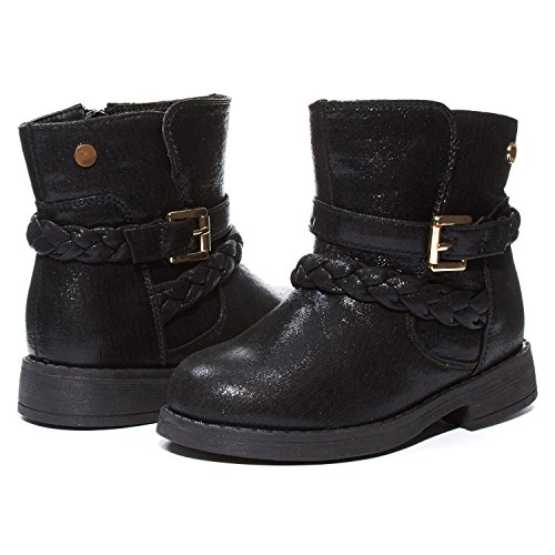 Sara Z Kids Girls Black and Gold Shimmery Boots With Braided Straps and Side Zip Size (Black And Gold Boots)