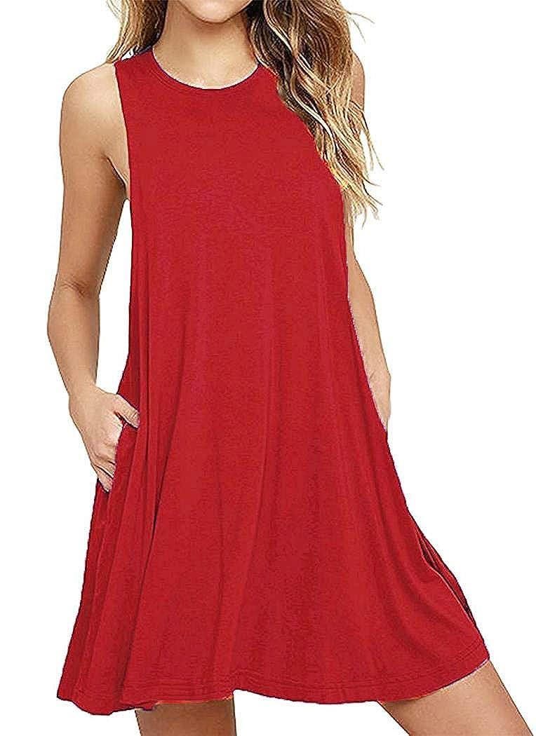 GSVIBK Women's Casual Sleeveless Swing T-Shirt Dress Loose A-Line Pockets Dress House Dresses