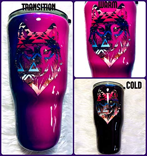 Wolf Thermal Tumbler - Color Changing Dark Pink/PurpleBlue/Black - Thermal - Coffee Mug - Travel Cup - Animal Lover Gift - Insulated - 30 oz