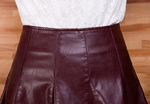 taille haute plissee Bordeaux PU Femmes jupes cuir Helan parapluie en courte f1Oqg
