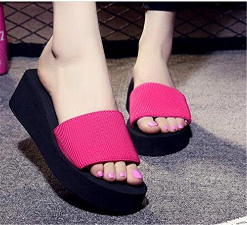 Summens ® Women Slippers Summer Muffled Thick Bottom Sandals Peep Toe Beach Shoes Hot Pink epYlCNrQM