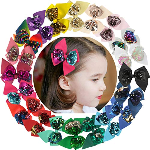 Baby Girls Clips 20pcs 4.5inch Reversible Sequin Bows with Clips Grosgrain Ribbon Hair Bows Hairpin for Baby Girls Teens Toddlers Kids Children (Large Bow Sequin)