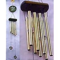Carillon du vent, vous souhaite la prospérité: chinois traditionnel incroyable 4 tubes 5 cloches et base en bois Bronze Windchime pour patio extérieur, jardin et décoration intérieure