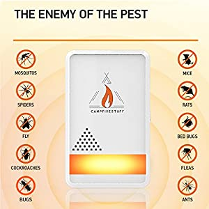 Campfire Stuff NEW 4-Pack Ultrasonic Pest Repeller - Electronic & Ultrasound, Indoor Plug-In Repellent | Anti Mice, Insects, Bugs, Ants, Mosquitos, Rats, Spiders, Roaches, Rodents - Child & Pet Safe