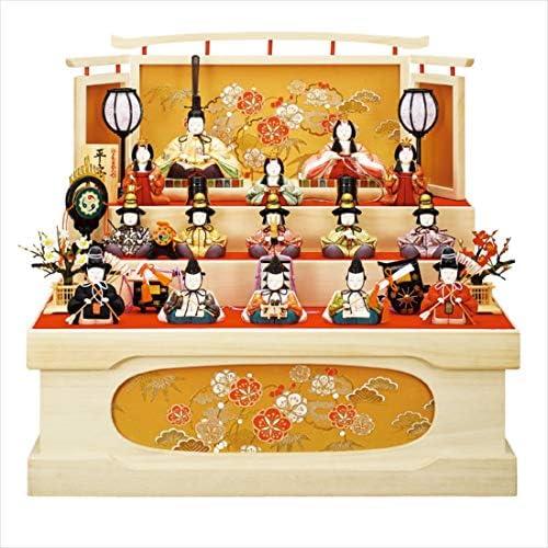 一秀 十五人飾り 平安雛15-1号 桐収納セット 収納 木目込人形 D-16