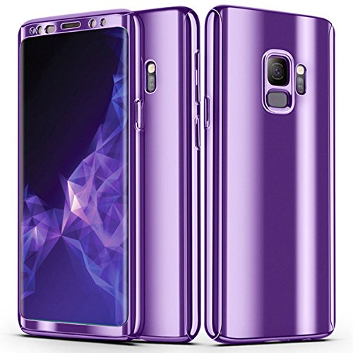 FastSun Note 8 Case, Ultra-Thin Luxury Electroplate 360 Full Body Shockproof Rugged Slim Hard Plating Mirror Smooth Matte + Screen Protector Cover case for Samsung Galaxy Note 8 (Purple)