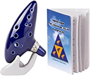 Deekec Legend of Zelda Ocarina 12 Hole Alto C with Song Book (Songs From the Legend of Zelda) Display Stand Pr