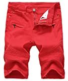 Chouyatou Men's Cool Stylish Wrinkle Performance Slim Ripped Denim Shorts (36, Red-No Holes)