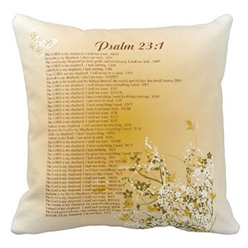 Christian Pillow Case Cushion Cover Gold Floral Psalm 23 1 All 42v