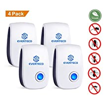 Everteco Pest Control Ultrasonic Repeller for Mosquitoes- Safe for Children and Pets - Quickly Eliminates Flies, Cockroaches, Spiders, Fleas, Mice, Rats (Pack of4)