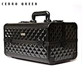 CERROQREEN Train Case Professional Large Make Up Artist Organizer Kit -Black