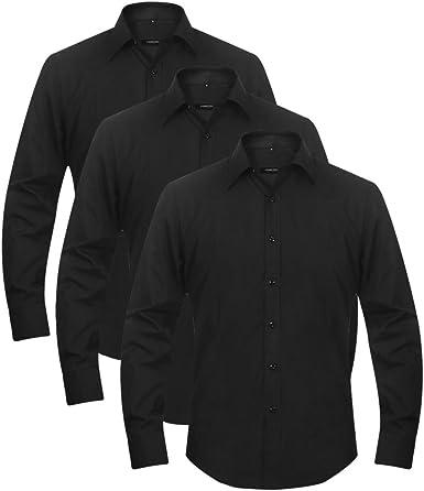 3 Camisas Vestir Hombre Varias Tallas Colores Blanco/Negro fáciles ...