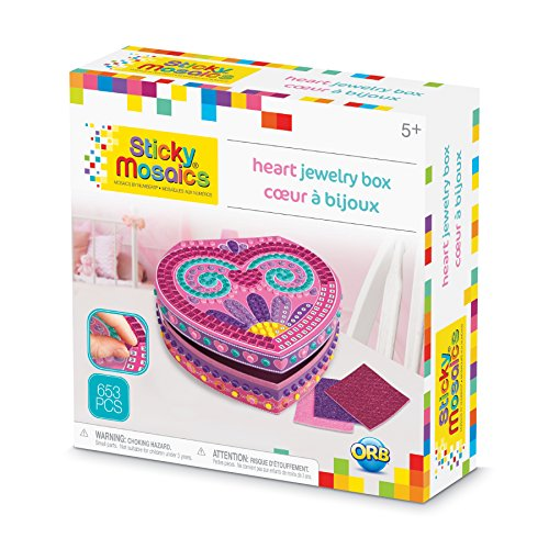 - The Orb Factory Sticky Mosaics Heart Jewelry Box Arts & Crafts, Pink/Purple/Teal, 8.26