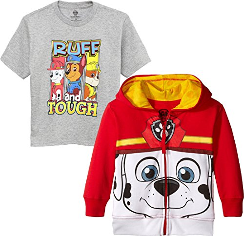 (Nickelodeon Paw Patrol Costume Zip Hoodie T-Shirt Set Marshall Face Set 3T)