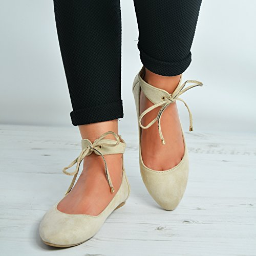 3 Beige Flats New Lace Shoes Ballerinas Up Girls Ankle Uk Casual Ladies Dolly Pumps Back Comfy Womens 8 Zip Size Strap x0RwqfgU0