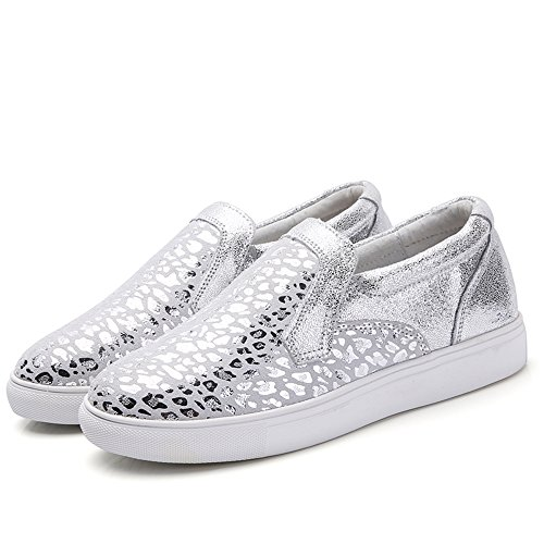 SUNROLAN Womens Genuine Leather Fashion Sneakers Comfort Platform Flats Slip-on Loafers Shoes Silver Leopard co5OwsdCy