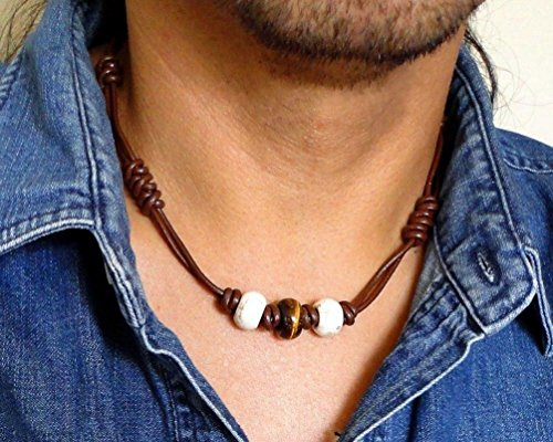 - Brown Leather Choker Necklace for Men, Unisex - Tiger Eye, White Magnesite Stone - Handmade in USA