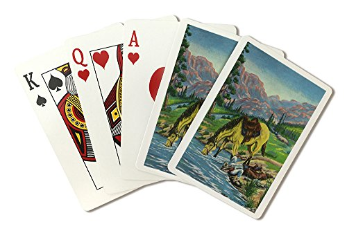 Western Scene - Thirsty Cowboy and Horse Both put their Heads in River to Drink (Playing Card Deck - 52 Card Poker Size with Jokers) ()