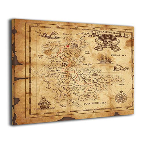 Rolandrace Super Detailed Treasure Map Grungy Rustic Pirates -Canvas Prints Wall Art Decor Mordern Wall Artworks Pictures for Living Room Bedroom Decoration-12x16 Inch