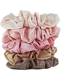 Metallic Scrunchies for Hair, Hair Scrunchies for Women and Girls, Set of Fashion Scrunchies, 5 Pack (Blush/Mauve)