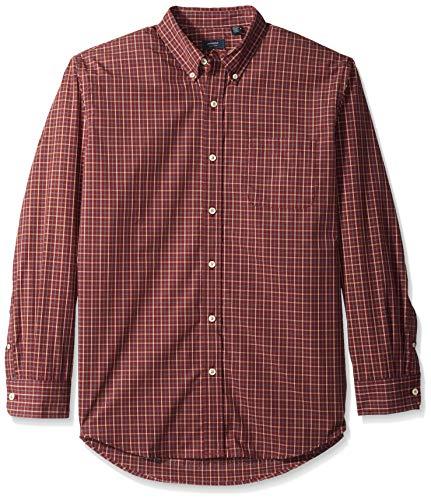 Arrow Men's Hamilton Poplin Long Sleeve Button Down Shirt, Tawny Port, X-Large