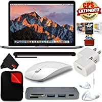 6Ave Apple 13.3 MacBook Pro (Mid 2017, Space Gray) MPXQ2LL/A + 3 Year Extended Warranty+ 2.4 GHz Slim Optical Wireless Bluetooth + Travel USB 5V Wall Charger for iPhone/iPad (White) + Bundle