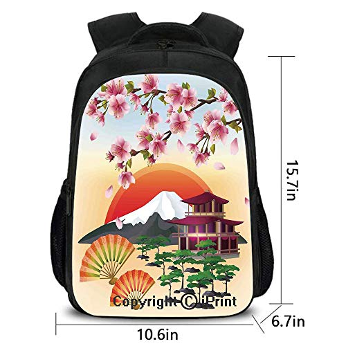 Men's Leisure Backpack,Sakura Blossom Art with Flying Petals Fans Bonsai Pagoda Mountain Rising Sun,School Bag :Suitable for Men and Women,School,Travel,Daily use,etc.Pink Green Orange