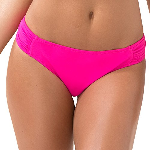 Smart & Sexy Women's Swim Secret Side Ruched Bikini Bottom, Fuchsia Sizzle, L