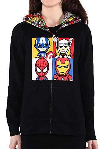 Tokidoki Marvel Squared Women's Black Hoodie (Small)