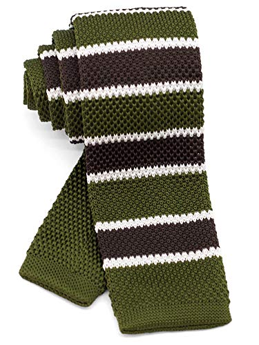 WANDM Men's Knit Tie Slim Skinny Square Necktie Width 2.2 inches Washable Horizontal Broad Double Stripe Moss Green and Brown Khaki