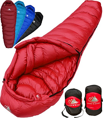 Hyke & Byke Down Sleeping Bag for Backpacking – Quandary 15 Degree F Ultralight, Ultra Compact Down Filled 3 Season Men's and Women's Lightweight Mummy (20f Mummy)