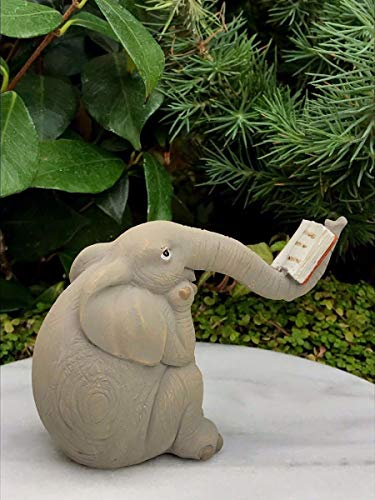 Miniature Dollhouse Fairy Garden Figurine ~ Elephant Reading Book on Trunk ~ -