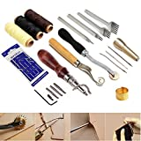 SIMPZIA 34 Pcs Leather Craft Stamping Tools with Stitching Groover,Prong Punch,Leather Working Saddle Making Stamps Tools for DIY Leather Craft Man,Be Careful of Its sharp edges Keep Way from Children