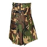 Scottish Camouflage Utility Kilt For Men (Belly Button Size 36)