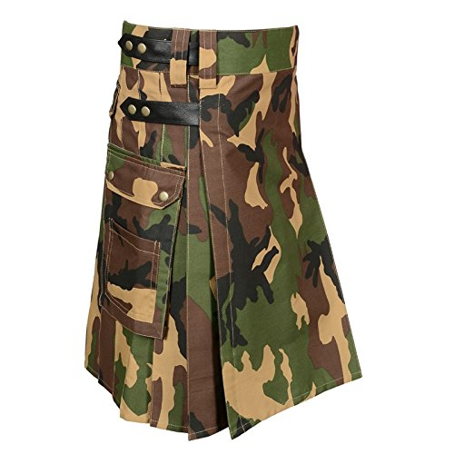 Scottish Camouflage Utility Kilt For Men (Belly Button Size 38)