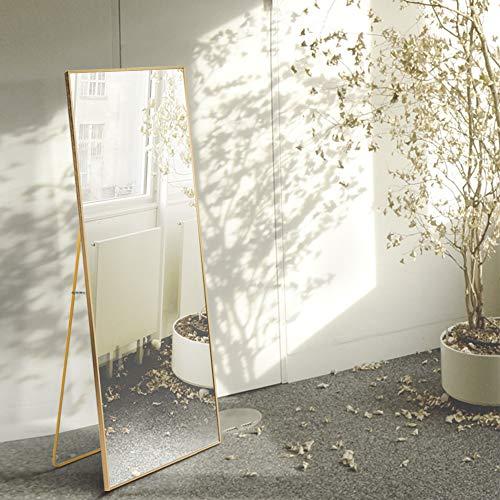 AUFHELLEN Espejo de pie con Marco de Metal, 140 x 40 cm, HD, Grande, Espejo de Cuerpo Entero con Gancho para salon o Vestuario (Dorado)