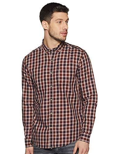 Amazon Brand – Inkast Denim Co. Men's Checkered Slim Fit Full Sleeve Cotton Casual Shirt (INK-AW19-SH-205_11772-1_Navy…