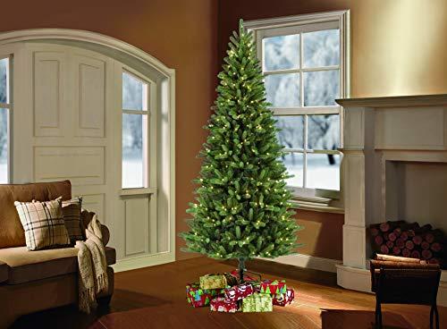 Puleo International 7.5-Foot Pre-Lit Douglas Fir Premier Slim Artificial Tree 500 UL-Listed Clear Lights Christmas Décor, Green