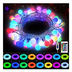 Garden and Outdoor KNONEW Globe String Lights 33ft 100 LED 16 Colors Changing Lights with Remote, USB Powered Fairy Light Indoor Outdoor… outdoor lighting