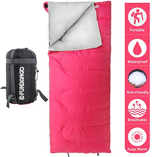 FUNDANGO Lightweight Sleeping Bag Compact Waterproof Rectangular/Envelope Cozy Portable Summer Backpacking Camping Hiking Sleeping Bags for Adults,Boys,Girls,Kids Extreme 4℃/39.2℉with Compression Sack ()
