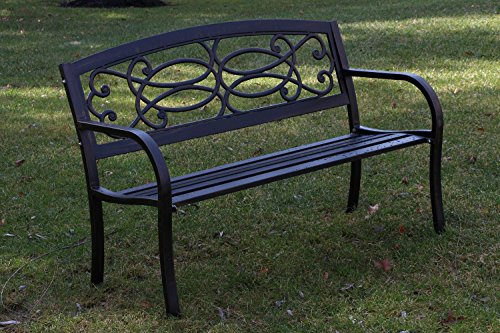 Oliver Smith Heavy Duty 51 Wide Patio And Garden Outdoor Rustic Black Cast Iron Bench