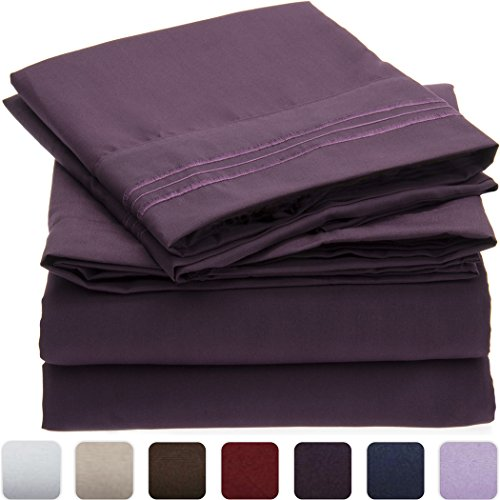 Mellanni Bed Sheet Set - Brushed Microfiber 1800 Bedding - Wrinkle, Fade, Stain Resistant - Hypoallergenic - 4 Piece (Queen, Purple)