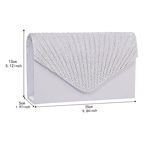 Jubileens Ladies Large Evening Satin Bridal Diamante Ladies Clutch Bag Party Prom Envelope (Silver) by Jubileens (Image #2)