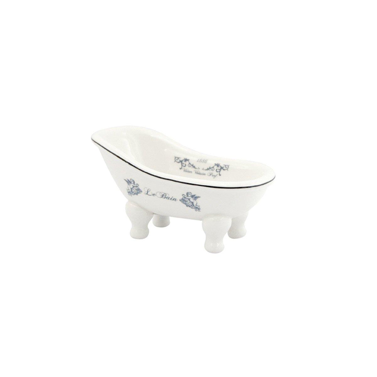 Ceramic Clawfoot Bathtub Bath Soap Dish or Ring Holder - Le Bain 1886