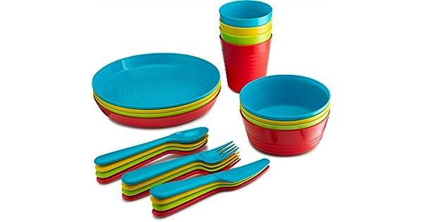 Amazon.com: PLASTI HOME 24 piezas Juego completo de vajilla ...