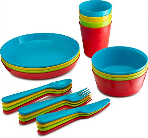 PLASTI HOME 24-Piece Complete Plastic Dinnerware Set - Reusable, Microwaveable & Dishwasher Safe Flatware For Toddlers & Kids - Colorful BPA-Free Stackable Plates, Bowls, Cups, Spoons, Forks & Knives
