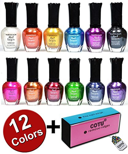 Kleancolor Nail Polish Awesome Metallic Full Size Lacquer Lot of 12 Set and COTU (R) Nail Buffer Block (1 pc) -